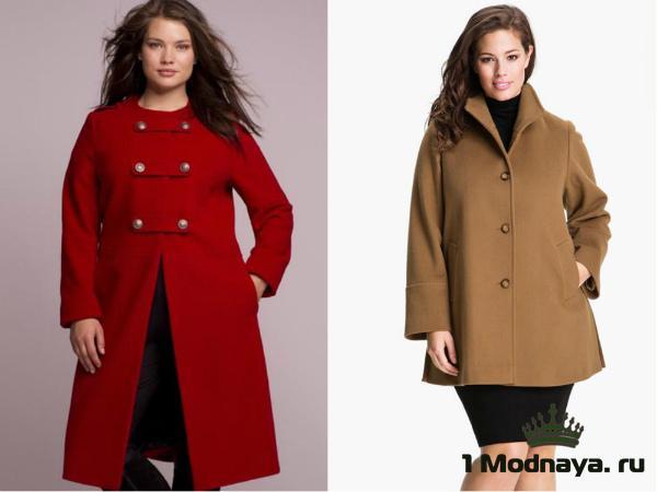 Модные модели пальто для полных женщин