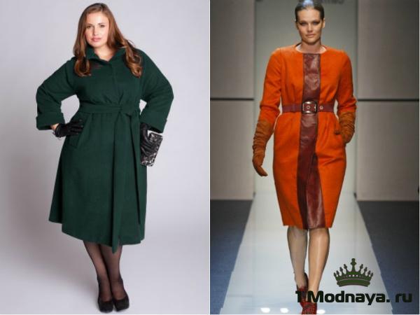Яркое пальто для полных модниц