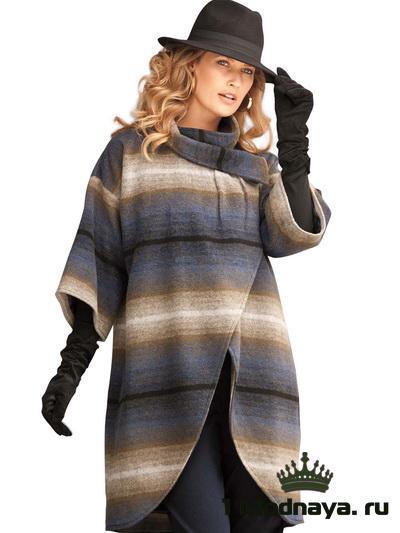Оригинальная модель пальто с горизонтальными полосами