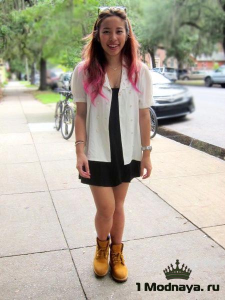 Розовые тимберленды с чем носить