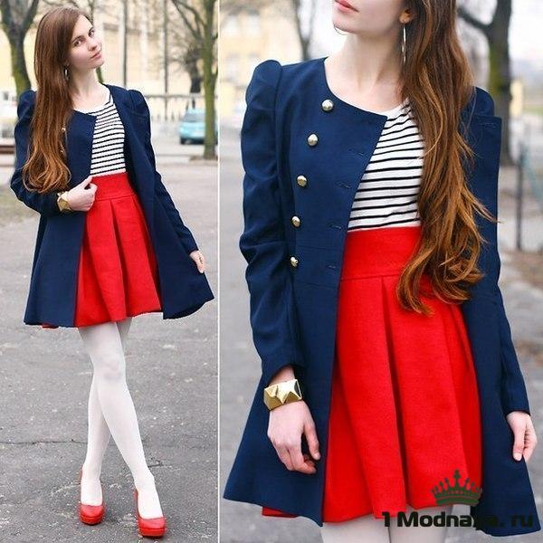 с чем носить красную юбку фото