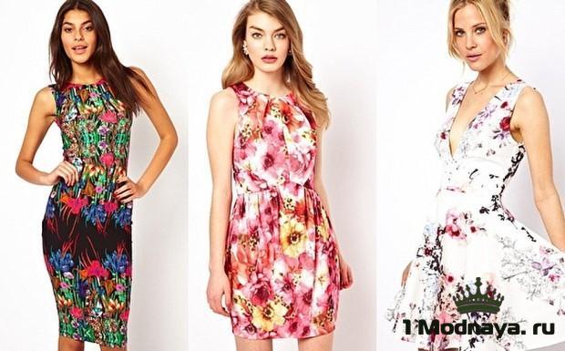 платье с цветочным принтом фото