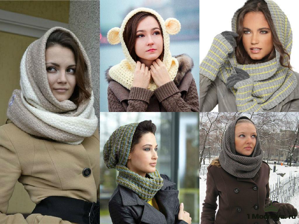 шарф-капюшон на голову под пальто схема вязки