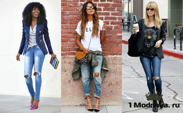 джинсы с дырками на коленях фото