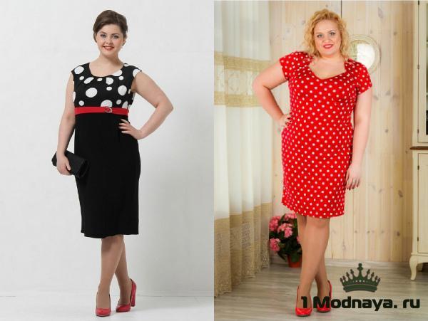 платья в горошек для полных женщин фото