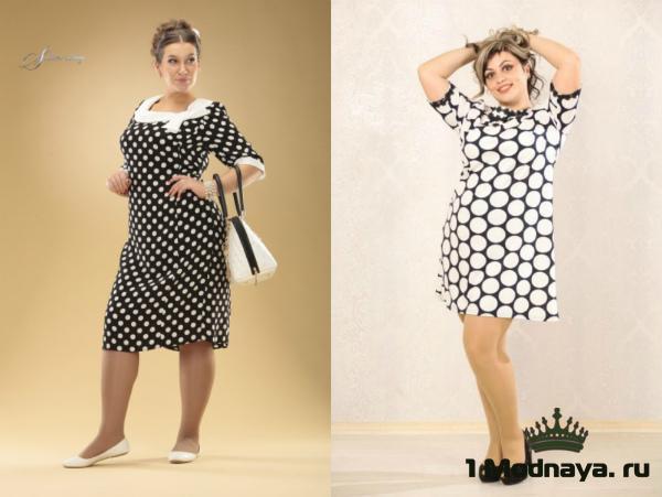 Красивые платья в горошек для полных