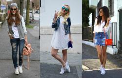 с чем носить белые кеды женские фото