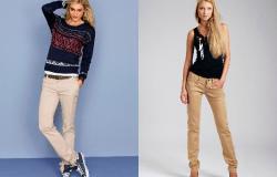 с чем носить бежевые брюки женские фото