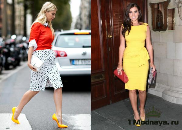 с чем носить желтые туфли фото