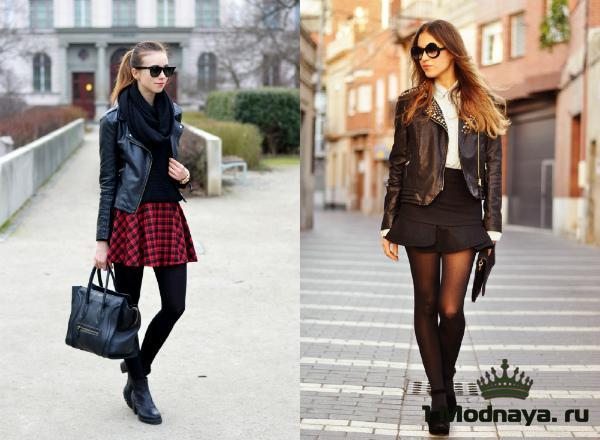 с чем носить кожаную куртку женскую фото