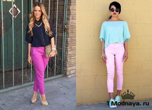 с чем носить розовые брюки фото