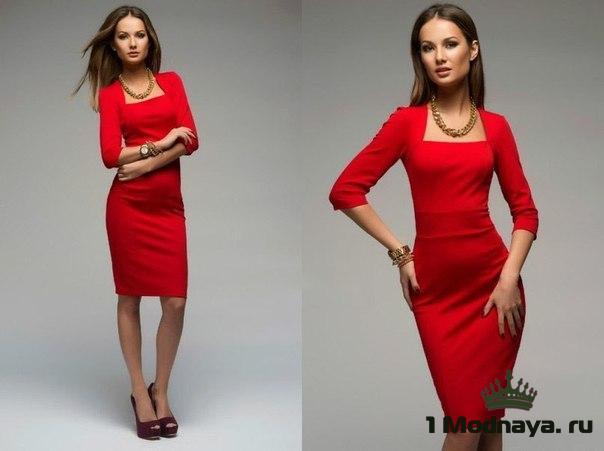 платье-футляр с рукавом три четверти фото