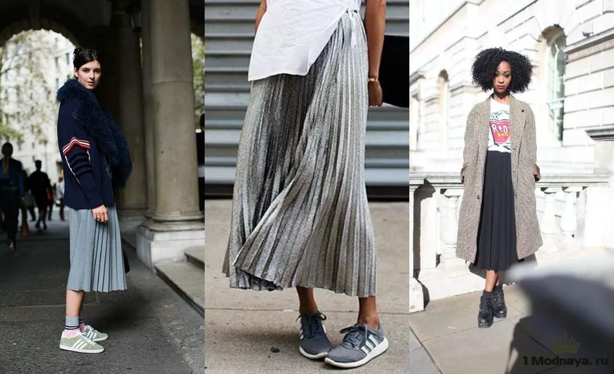с чем носить юбку плиссе ниже колена